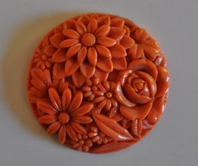 Chinese Carved Red Coral Pendant