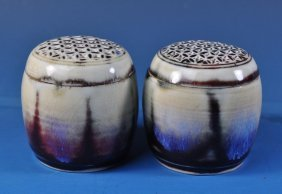 Pair Of Chinese Porcelain Cricket Pots