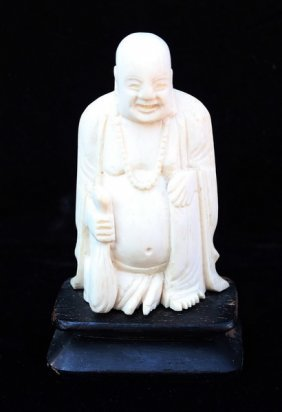 Chinese Carved Ivory Buddha W/wood Stand