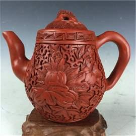 Carved Lacquer Cinnabar on Zisha Tea Pot with Mark