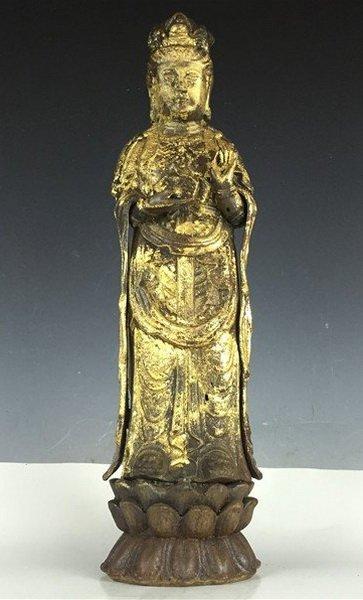 Chinese Gilt Bronze Buddha Guanyin on Lotus