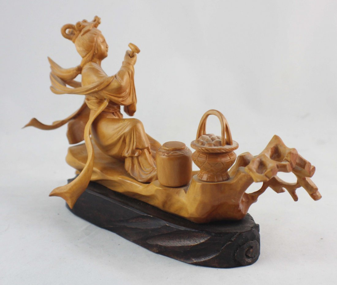 Chinese Carved Wood Statue - 4