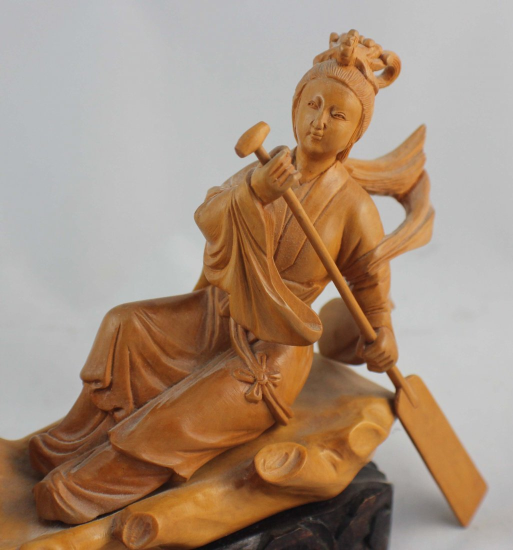Chinese Carved Wood Statue - 9
