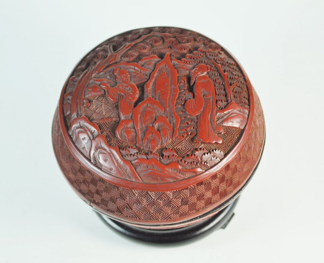 Chinese Carved Cinnabar Box - 2