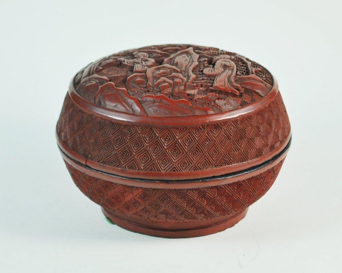Chinese Carved Cinnabar Box - 3