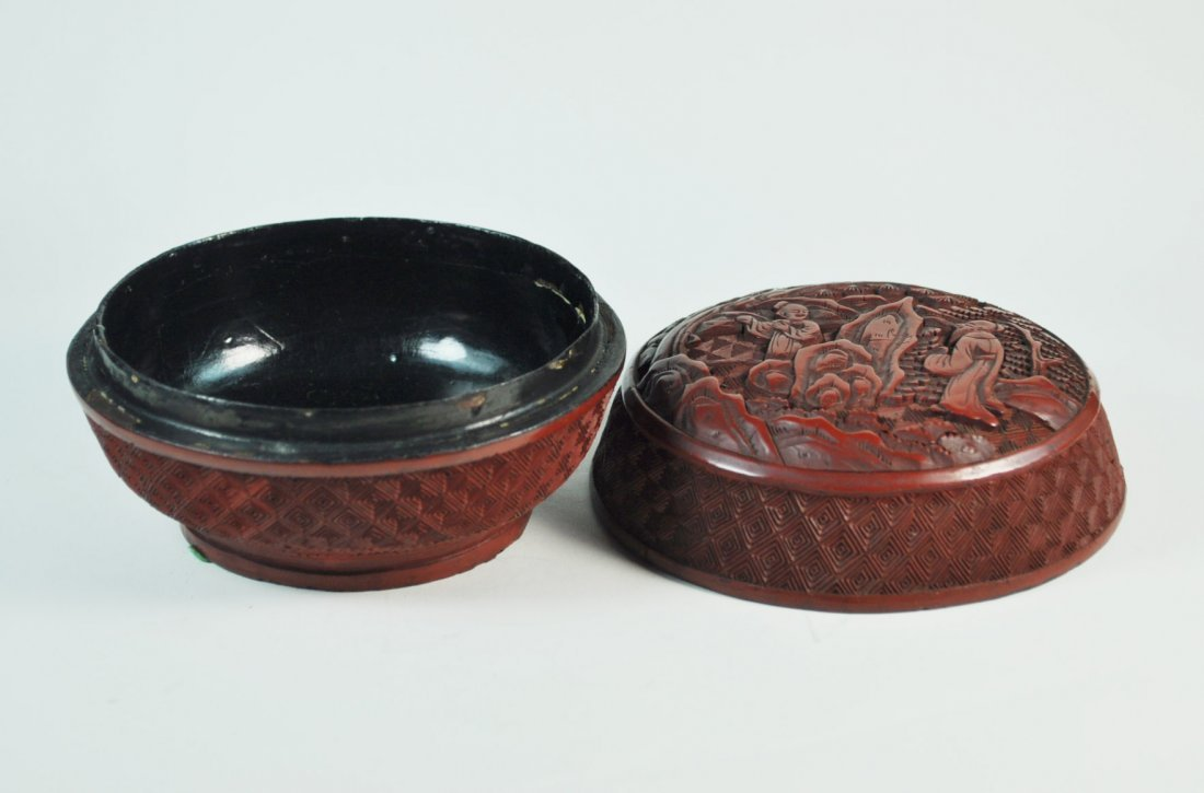 Chinese Carved Cinnabar Box - 4