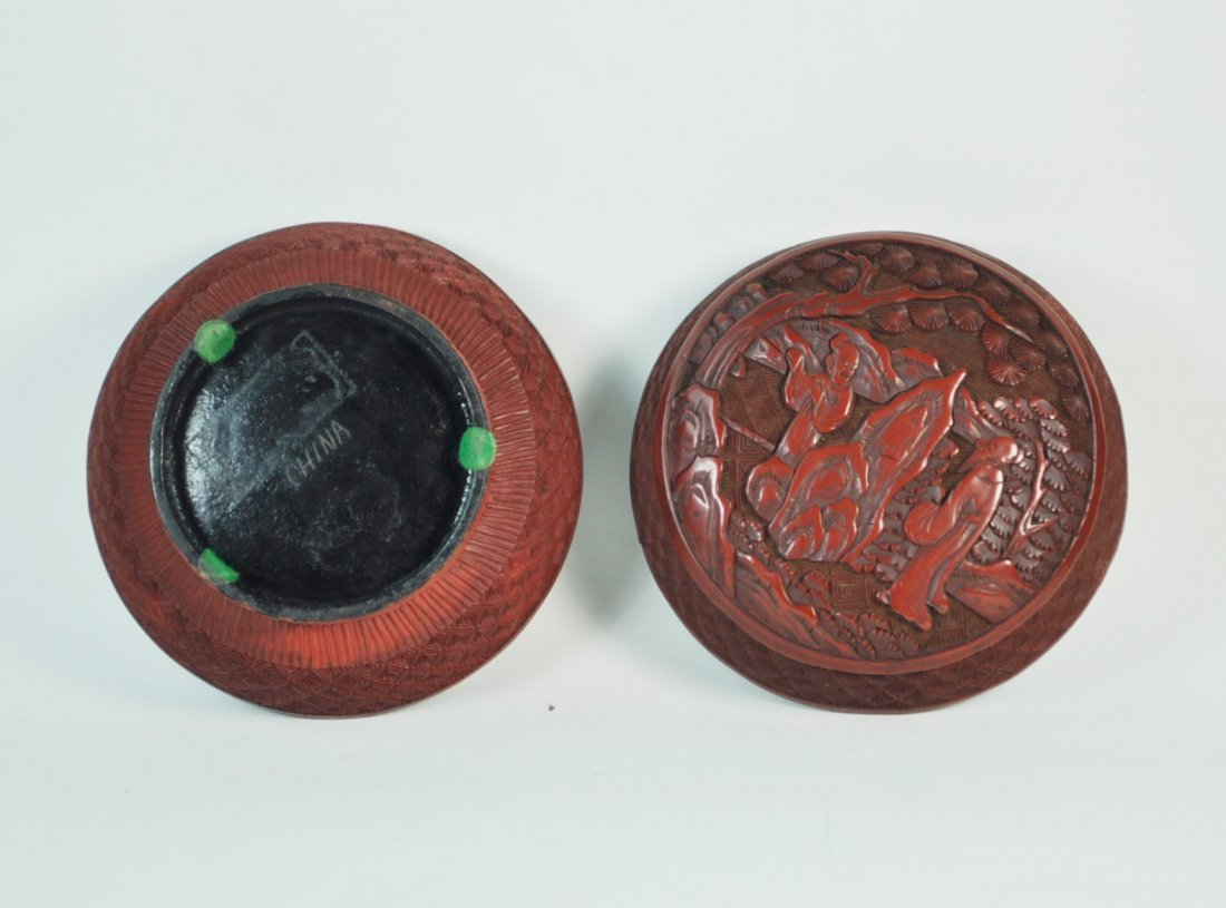 Chinese Carved Cinnabar Box - 7