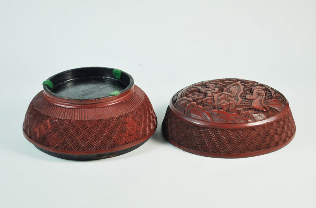 Chinese Carved Cinnabar Box - 9