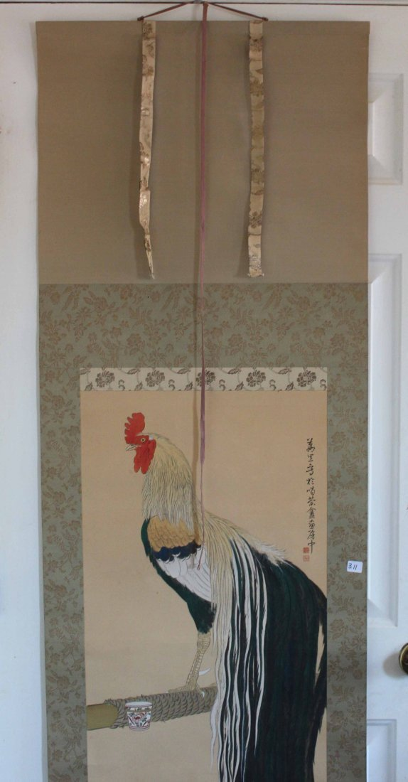 Japanese Water Color Painted On Silk Scroll - 4