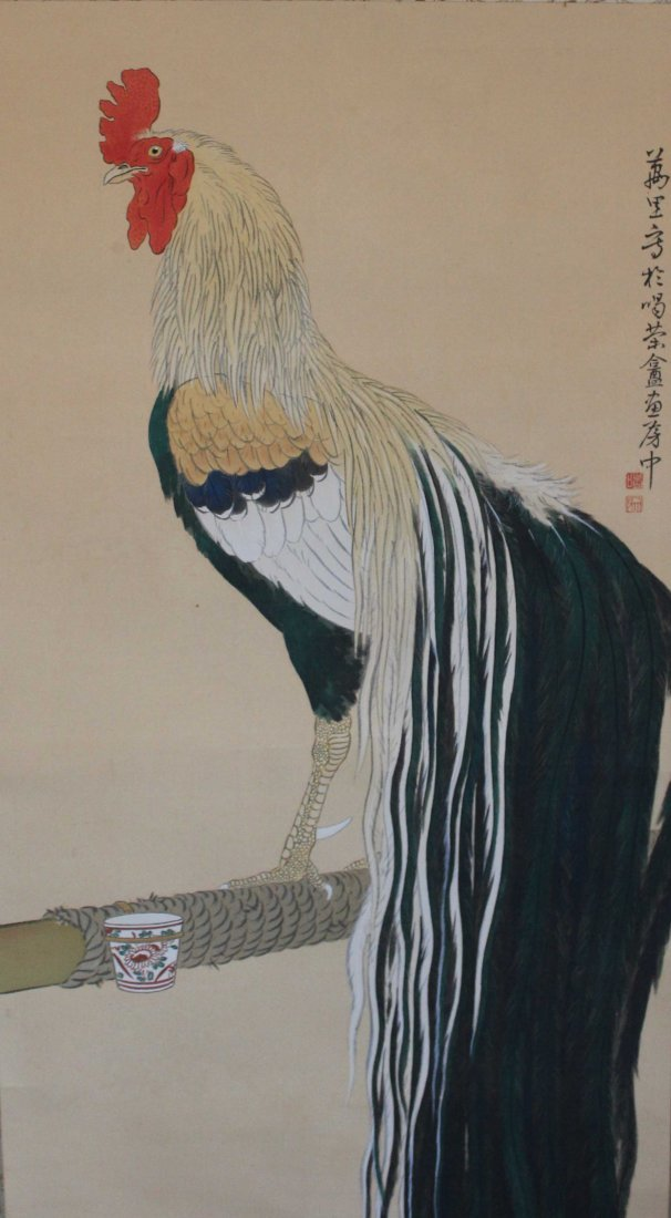 Japanese Water Color Painted On Silk Scroll - 5