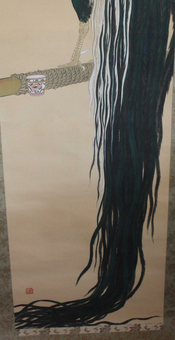 Japanese Water Color Painted On Silk Scroll - 6