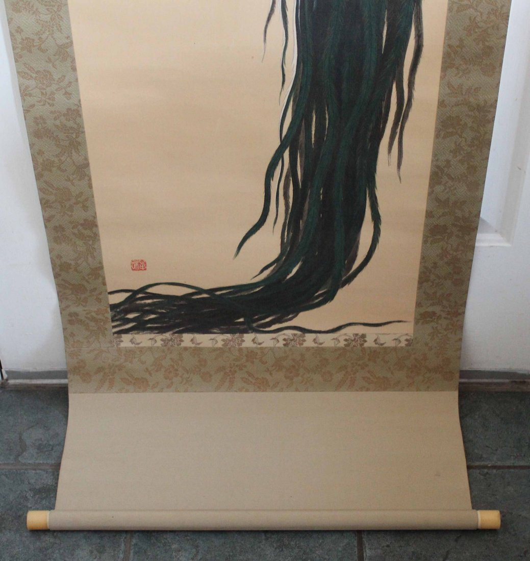 Japanese Water Color Painted On Silk Scroll - 7