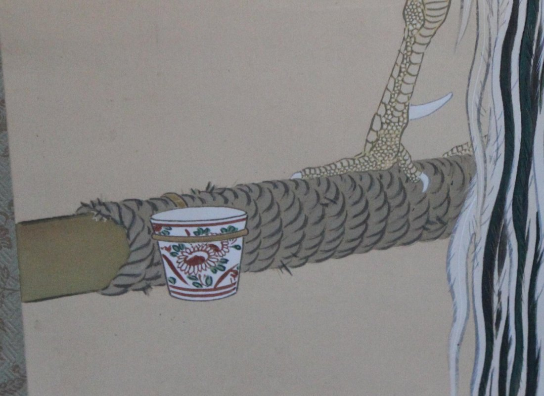 Japanese Water Color Painted On Silk Scroll - 8