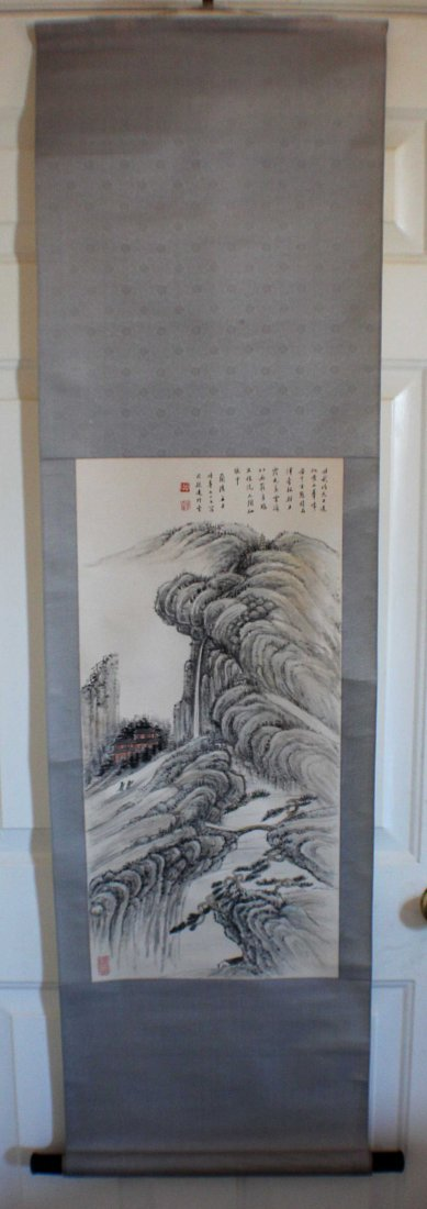 Chinese Water Color Painted On Silk Scroll - 2