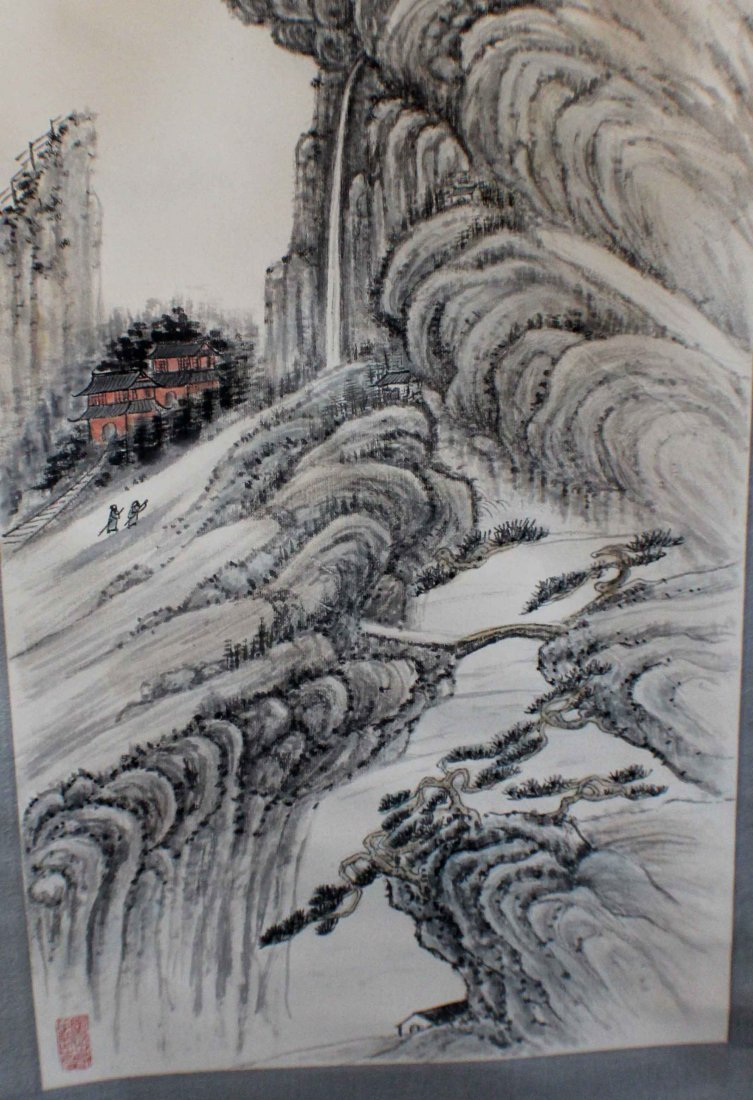 Chinese Water Color Painted On Silk Scroll - 5
