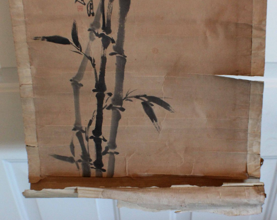 Pair Of Chinese Painted On Silk Scroll - 10
