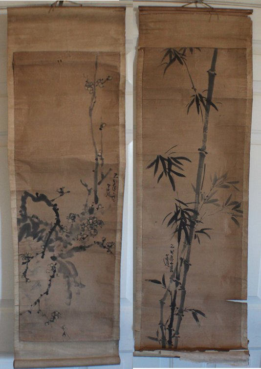 Pair Of Chinese Painted On Silk Scroll