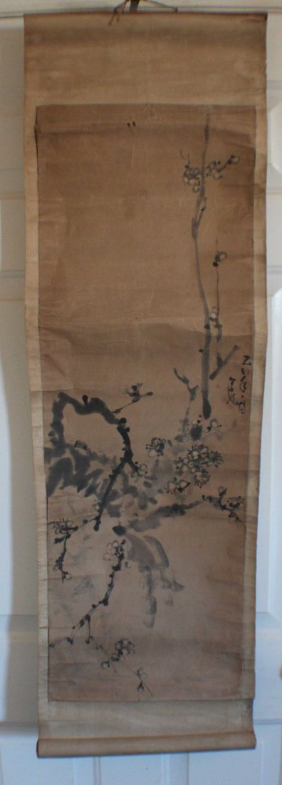 Pair Of Chinese Painted On Silk Scroll - 2