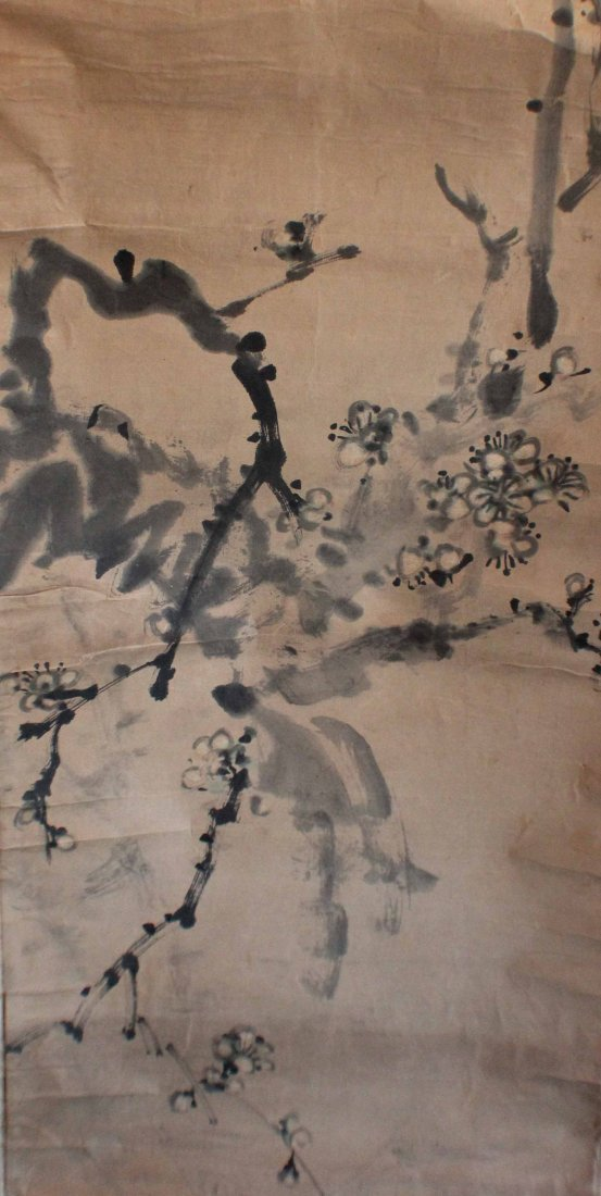 Pair Of Chinese Painted On Silk Scroll - 5