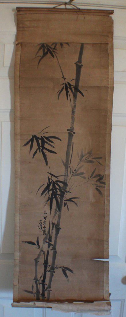 Pair Of Chinese Painted On Silk Scroll - 6