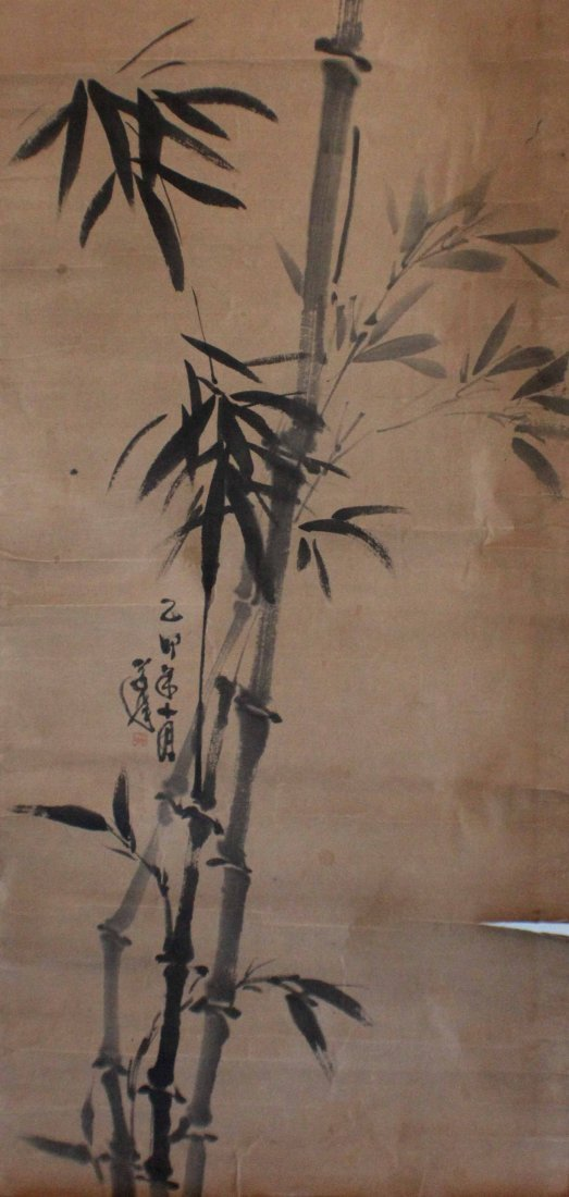 Pair Of Chinese Painted On Silk Scroll - 7