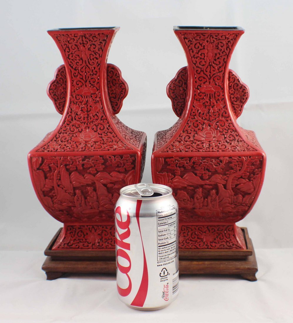 Pair Of Chinese Carved Cinnabar Vases - 2