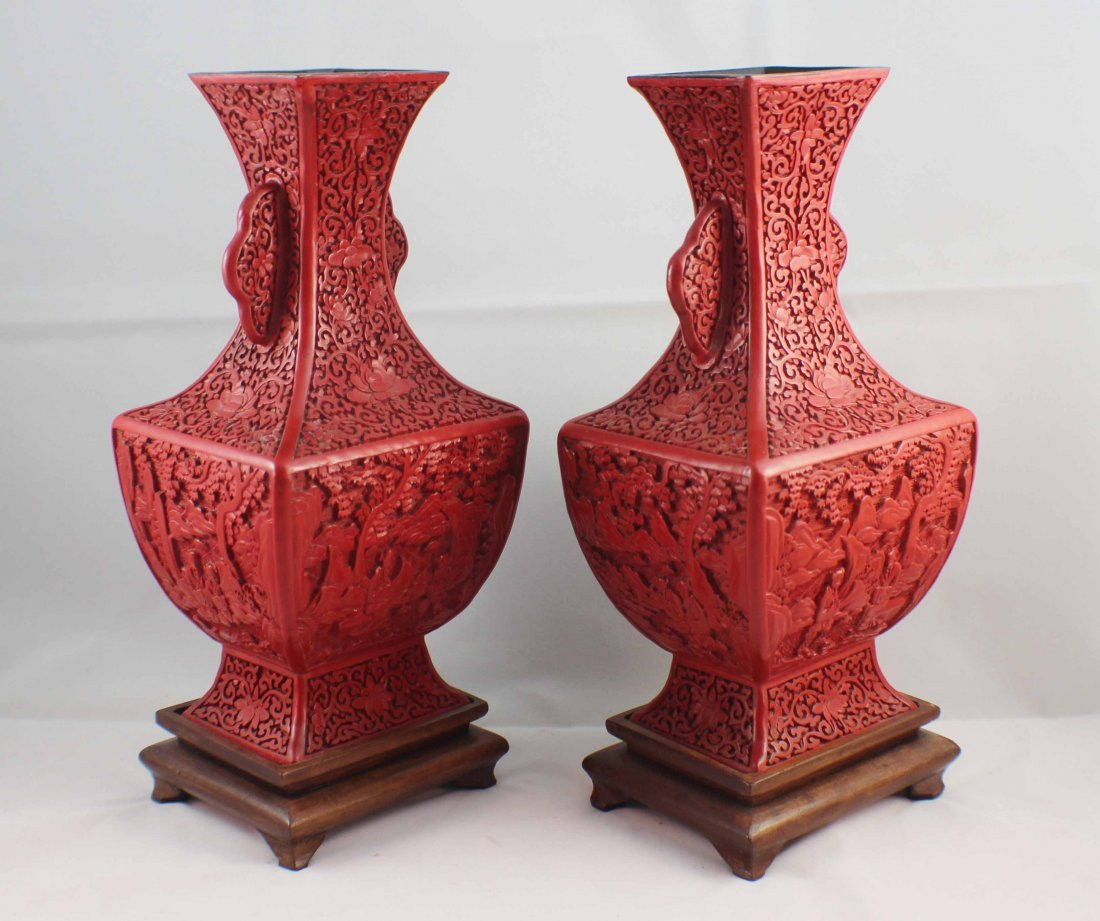 Pair Of Chinese Carved Cinnabar Vases - 7