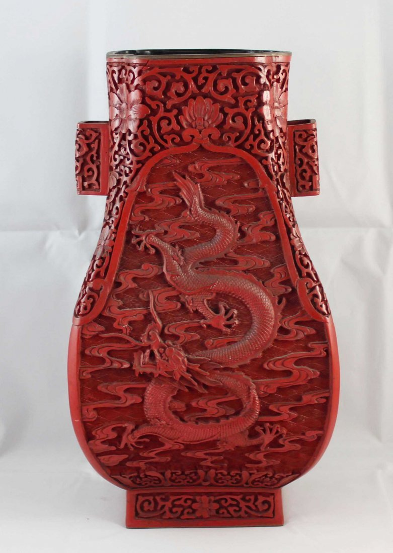 Chinese Carved Cinnabar Vases