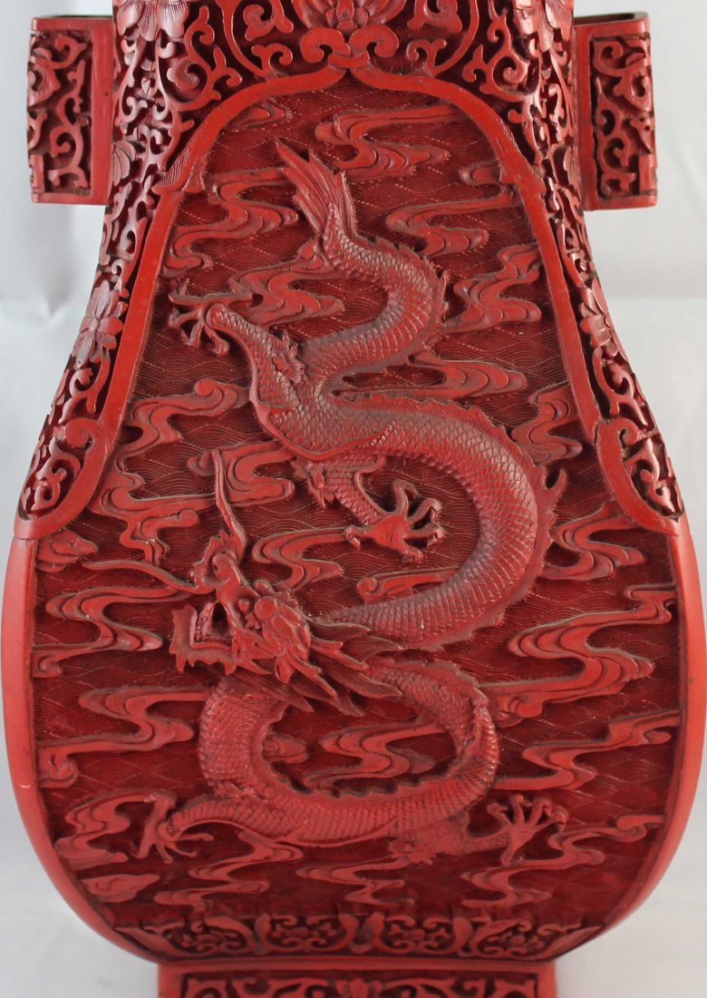 Chinese Carved Cinnabar Vases - 3