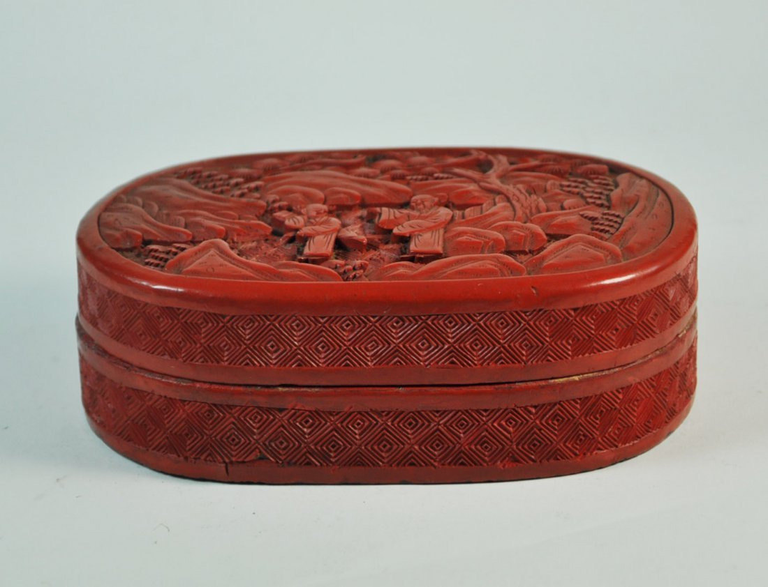 Chinese Carved Cinnabar Box