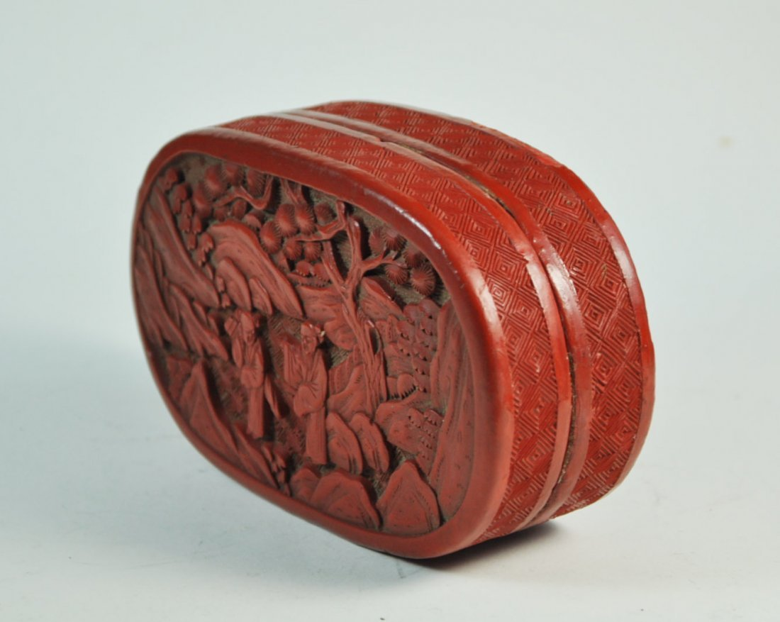 Chinese Carved Cinnabar Box - 5
