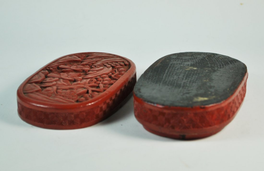 Chinese Carved Cinnabar Box - 8