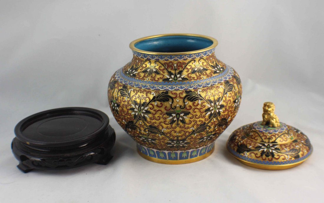 Chinese Cloisonne Ginger Jar - 4