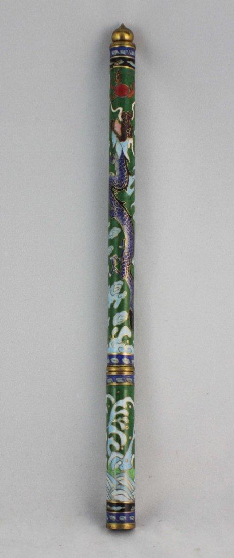 Chinese Cloisonne Brush Case - 2