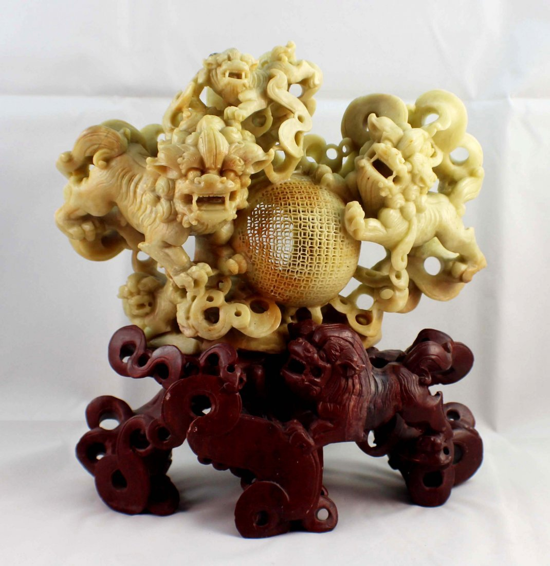 Chinese Carved Stone Statue Of Foodogs