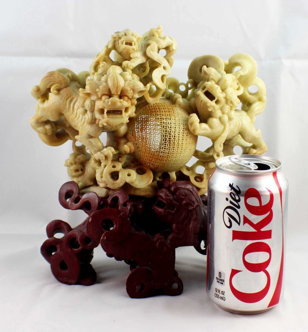 Chinese Carved Stone Statue Of Foodogs - 2
