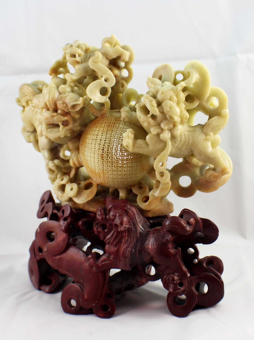 Chinese Carved Stone Statue Of Foodogs - 6