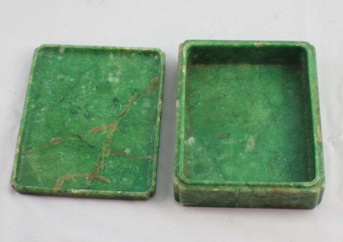 Chinese Carved Jade Box - 9