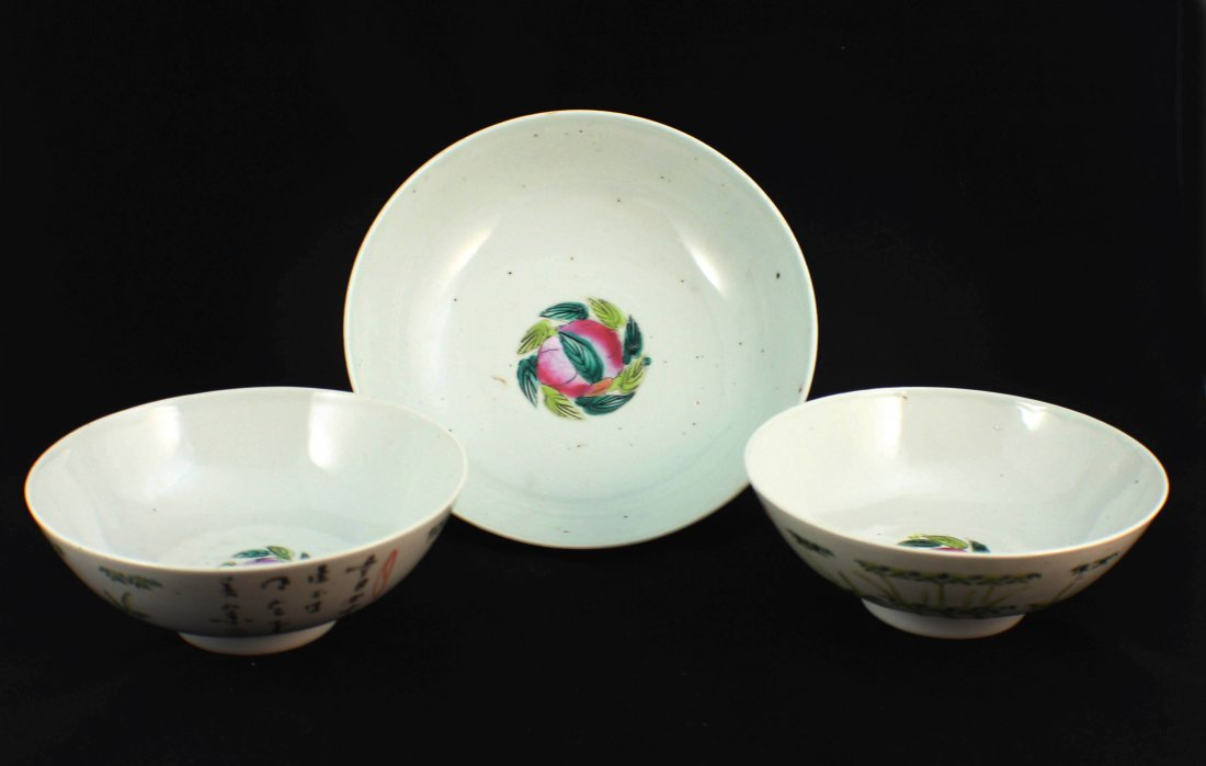Lot Of 3 Chinese Porcelain Bowls