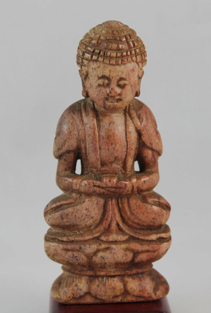 Chinese Carved Stone Statue Of Buddha - 2
