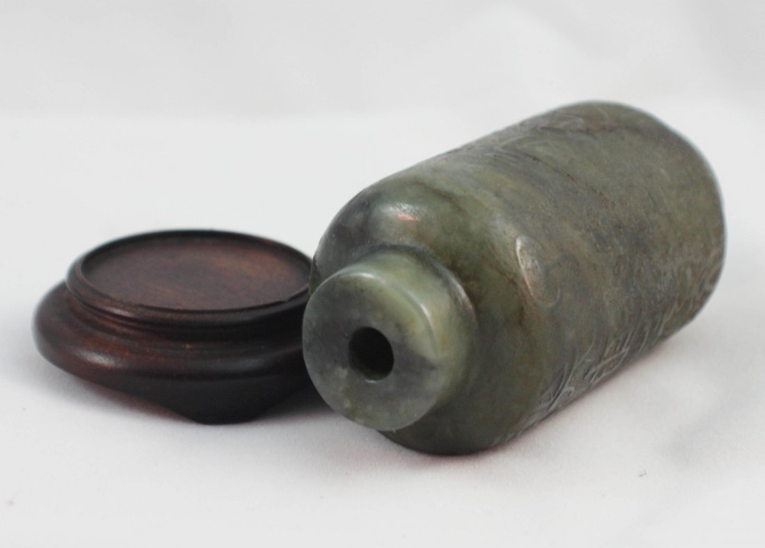 Chinese Carved Jade Snuff Bottle - 6