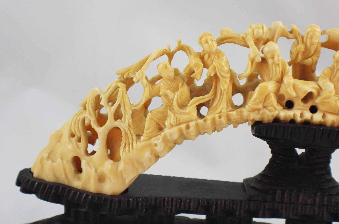 Chinese Carved Bone Statues w Base - 2