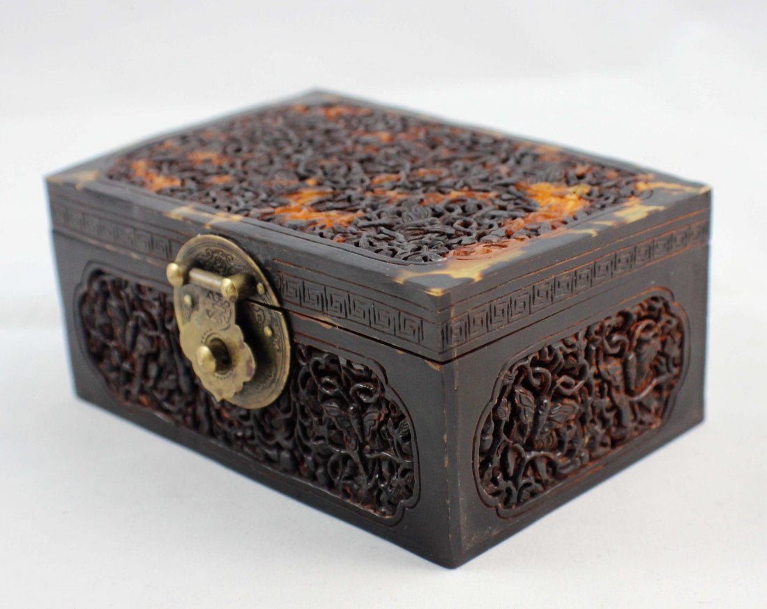 Chinese Carved Turtle Shell Box