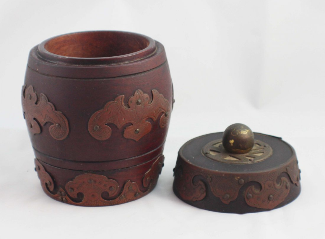 Chinese Carved Wood Tea Caddy - 4