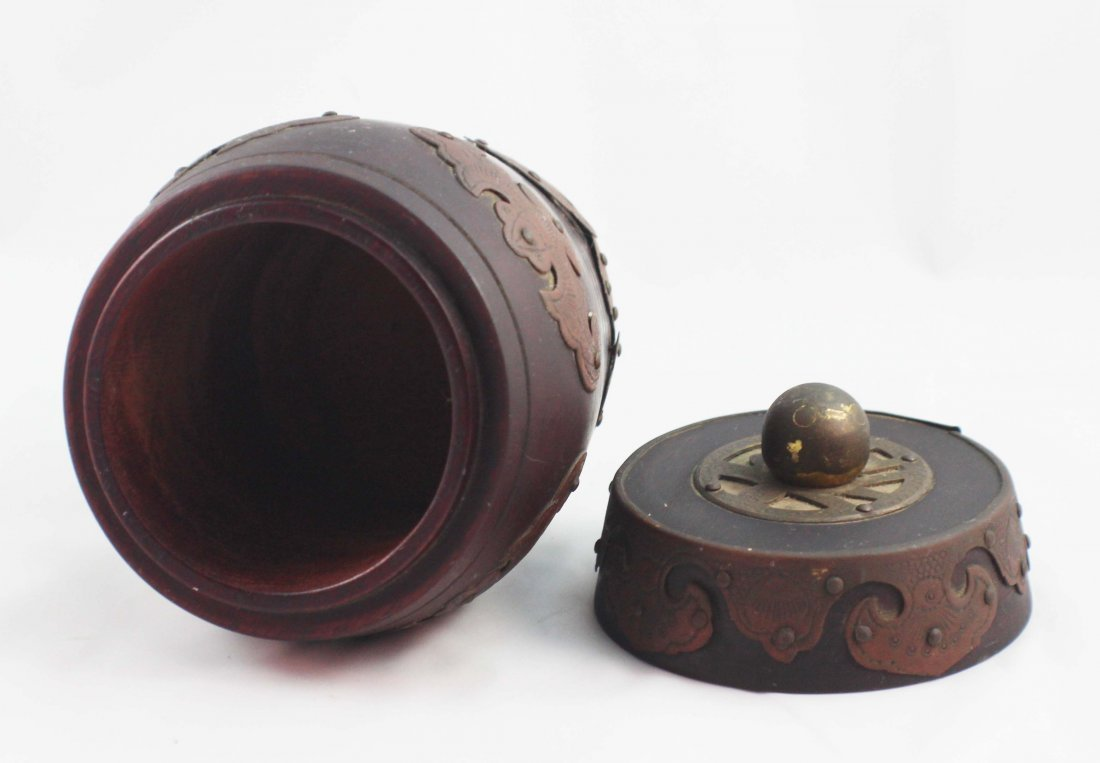 Chinese Carved Wood Tea Caddy - 5