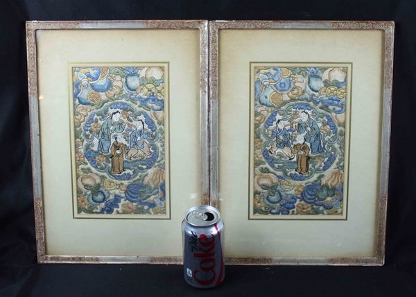 Pair of Chinese Embroidery - 10