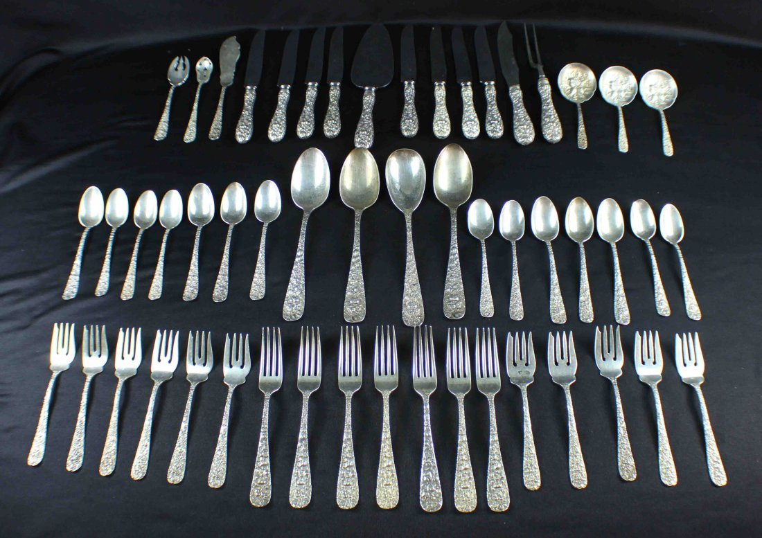Stieff Rose Sterling Set 53 PC Weight 84 Oz