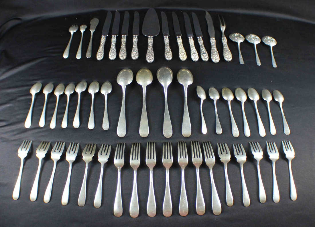 Stieff Rose Sterling Set 53 PC Weight 84 Oz - 9