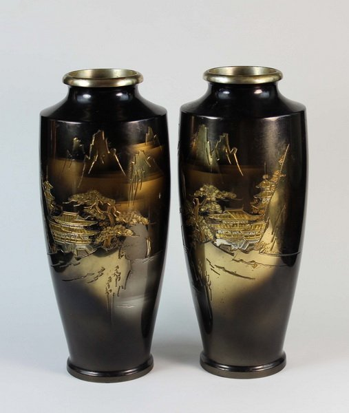 Pair Of Japanese Bronze Inlaid 24K Gold Vases