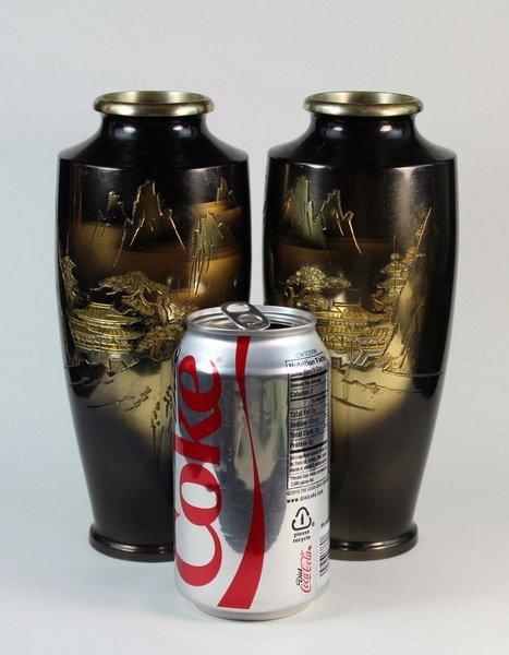 Pair Of Japanese Bronze Inlaid 24K Gold Vases - 2